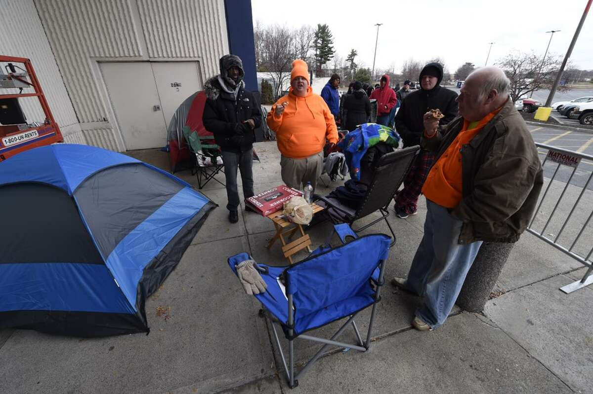 Holiday shoppers eschewed Thanksgiving celebrations in favor on waiting in line to get a jump on Black Friday sales. Thursday, Nov. 26, 2015. (Skip Dickstein/Times Union)