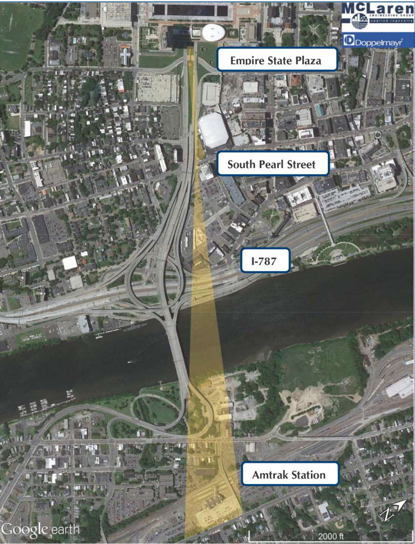 Aerial plan showing path of proposed gondola from the Amtrak station in Rensselaer to Albany. (McLaren Engineering Group)