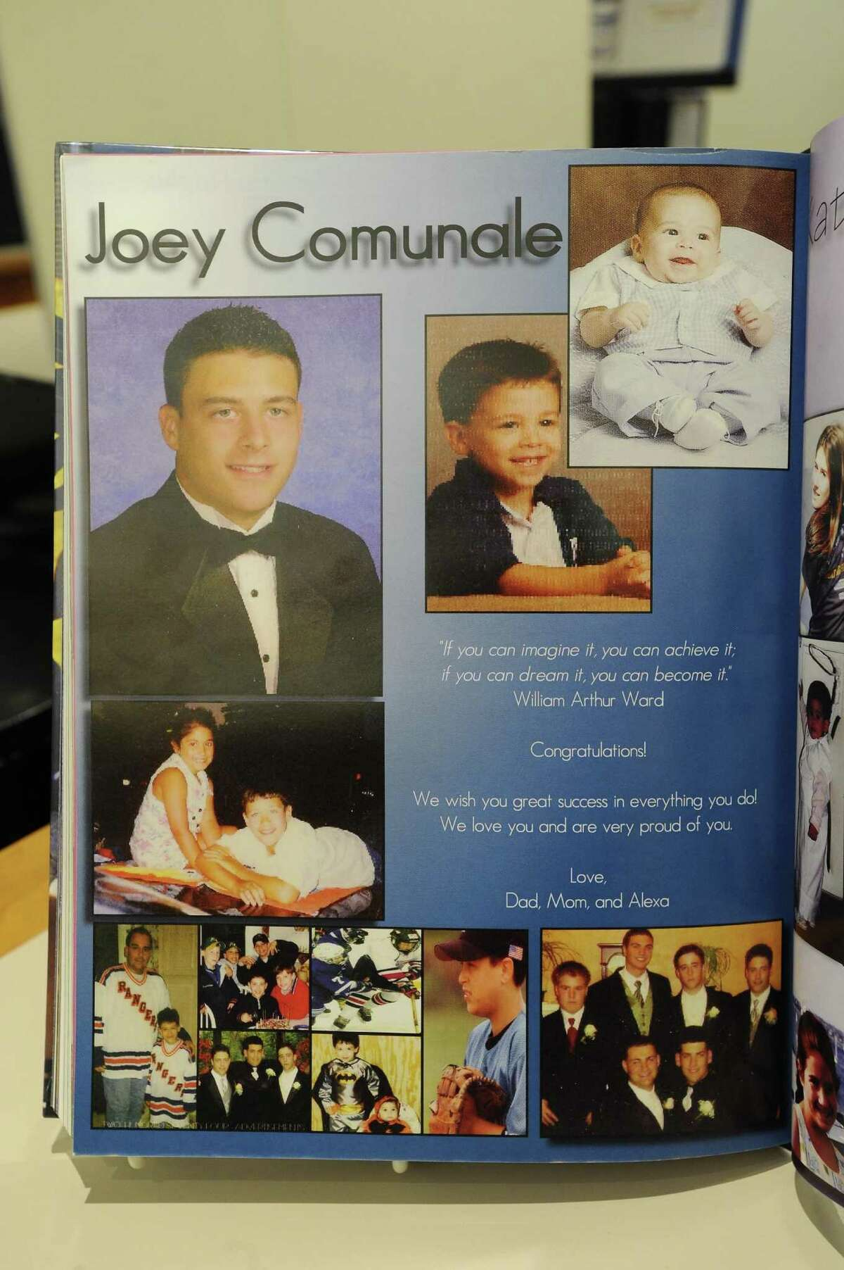 Joey Comunale's senior page from the Westhill High School yearbook in 2008. Comunale was murdered in New York City on Nov. 13 and his body dumped in Oceanport, N.J.