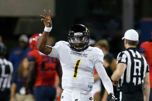 Grambling State quarterback DeVante Kincade (1) during the first half of an NCAA college football game against Arizona, Saturday, Sept. 10, 2016, in Tucson, Ariz. (AP Photo/Rick Scuteri)