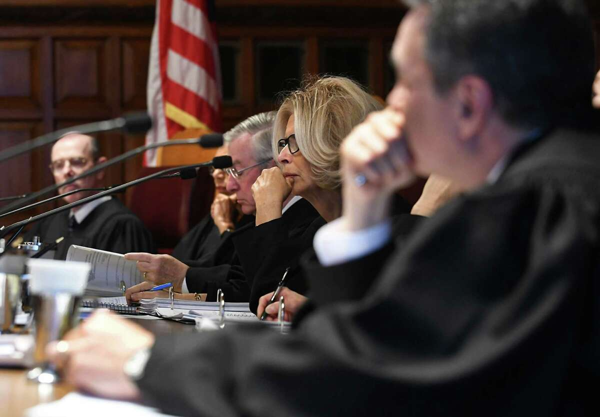 Judges of the New York State Court of Appeals listen to hearing arguments from a case on Thursday, Nov. 17, 2016 in Albany, N.Y. (Lori Van Buren / Times Union)