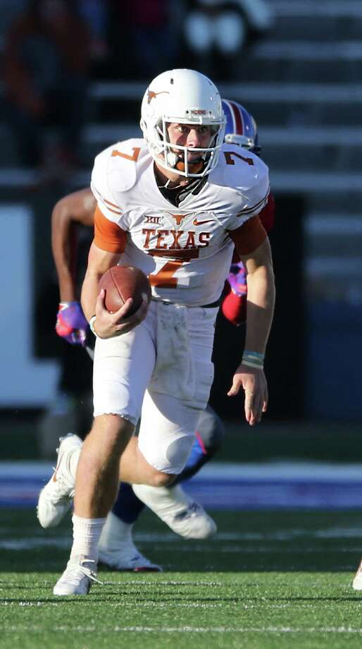 Texas quarterback Shane Buechele during the first half against Kansas at Memorial Stadium in Lawrence, Kan., on Saturday, Nov. 19, 2016. Photo: Deborah Cannon, TNS / Austin American-Statesman