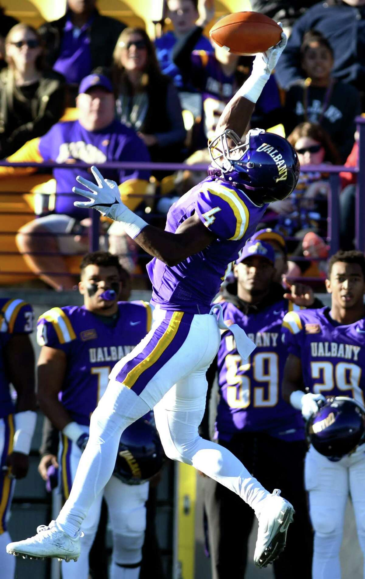 UAlbany's Jordan Crockett hauls in a pass during their football game against Stony Brook on Saturday, Nov 19, 2016, at Casey Stadium in Albany, N.Y. (Cindy Schultz / Times Union)