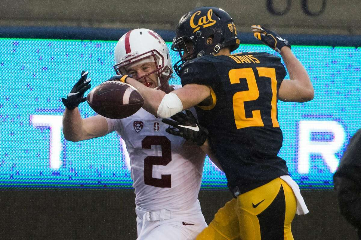 Wide receiver Trenton Irvin #2 of the Stanford Cardinal couldn't make a catch in the end zone as cornerback Ashtyn Davis #27 of the California Golden Bears defends during the second quarter of their game at Kabam Field at California Memorial Stadium in Berkeley, Calif. on Saturday, Nov. 19, 2016.