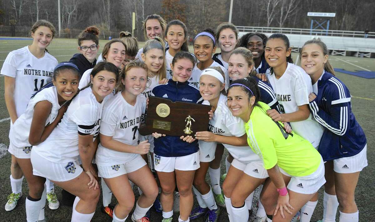 Notre Dame-Fairfield will share the girls Class M state championship girls high school Class M soccer state championship after battling to a 0-0 tie with Immaculate in regulation and overtime on Saturday afternoon, November 19, 2016 on Ray Snyder Sr. Field, in Waterbury, Conn.