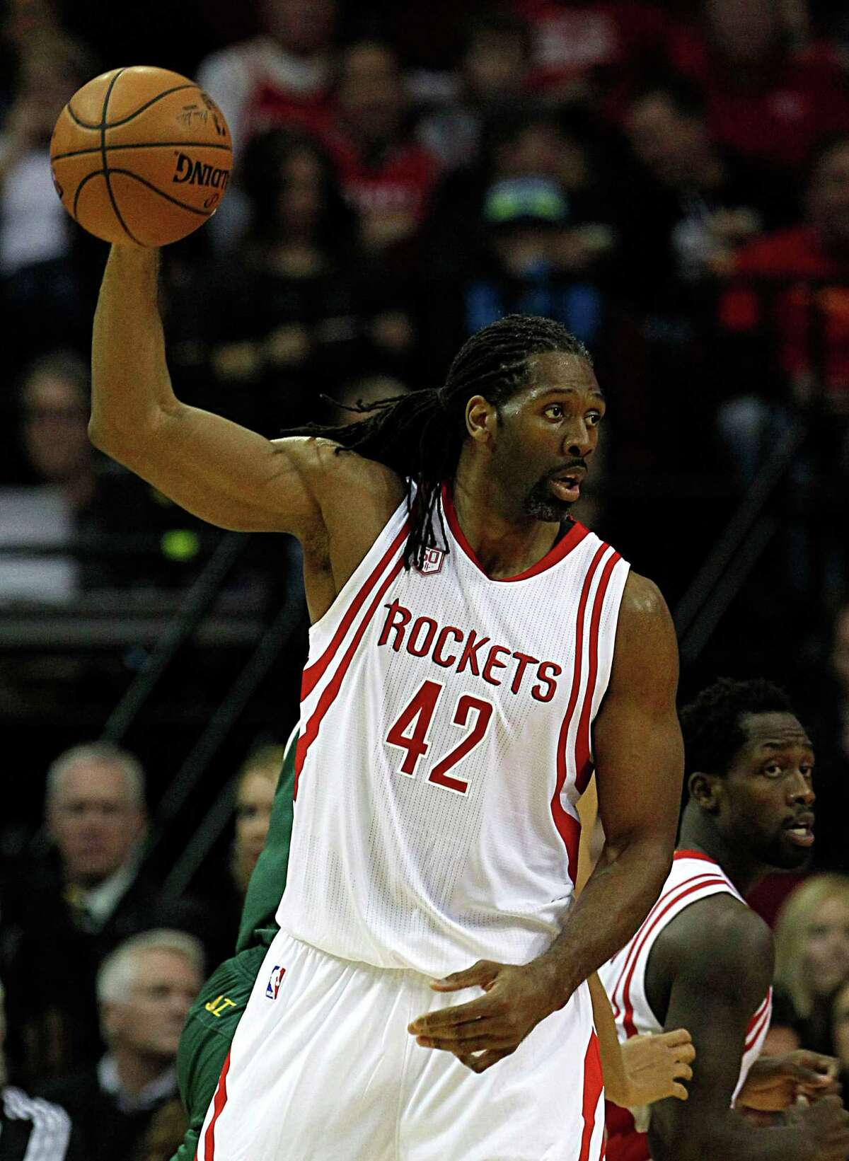 Houston Rockets center Nene Hilario during the first half of NBA game action against the Utah Jazz at the Toyota Center Nov. 19, 2016, in Houston.