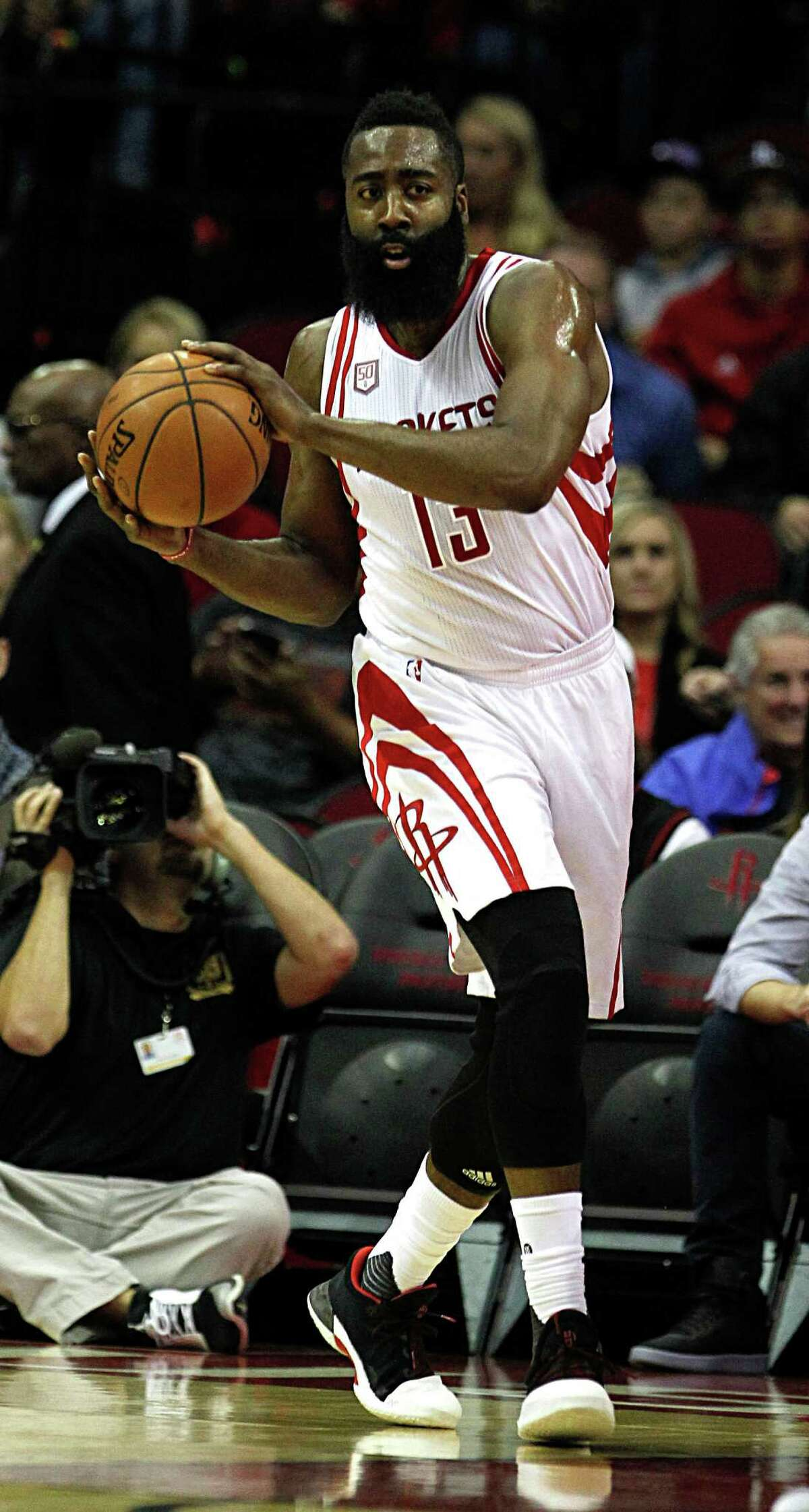 Houston Rockets guard James Harden during the first half of NBA game action against the Utah Jazz at the Toyota Center Nov. 19, 2016, in Houston.