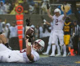 Tight end Dalton Schultz #9 of the Stanford Cardinal runs for a touchdown during the second quarter of his game against the California Golden Bears at Kabam Field at California Memorial Stadium in Berkeley, Calif. on Saturday, Nov. 19, 2016.