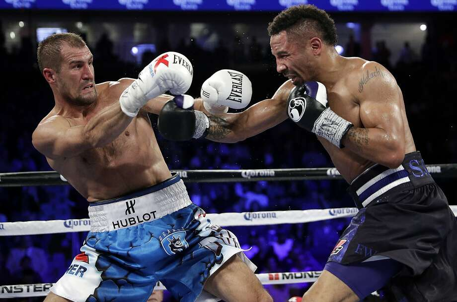 Sergey Kovalev, left, of Russia, backs away from a punch from Andre Ward during a light heavyweight boxing match, Saturday, Nov. 19, 2016, in Las Vegas. (AP Photo/John Locher) Photo: Associated Press