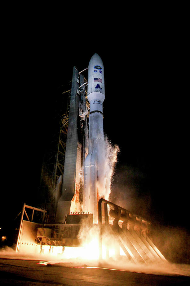 This photo provided by United Launch Alliance shows a United Launch Alliance (ULA) Atlas V rocket carrying GOES-R spacecraft for NASA and NOAA lifting off from Space Launch Complex-41 at 6:42 p.m. EST at Cape Canaveral Air Force Station, Fla., Saturday, Nov. 19, 2016. The most advanced weather satellite ever built rocketed into space Saturday night, part of an $11 billion effort to revolutionize forecasting and save lives.  Photo: AP / United Launch Alliance