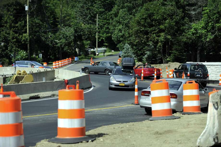 The town put a traffic bypass at the Plumtrees Road and Walnut Hill Road intersection in Bethel. Photo Wednesday, July 20, 2016. Photo: Carol Kaliff / Hearst Connecticut Media / The News-Times