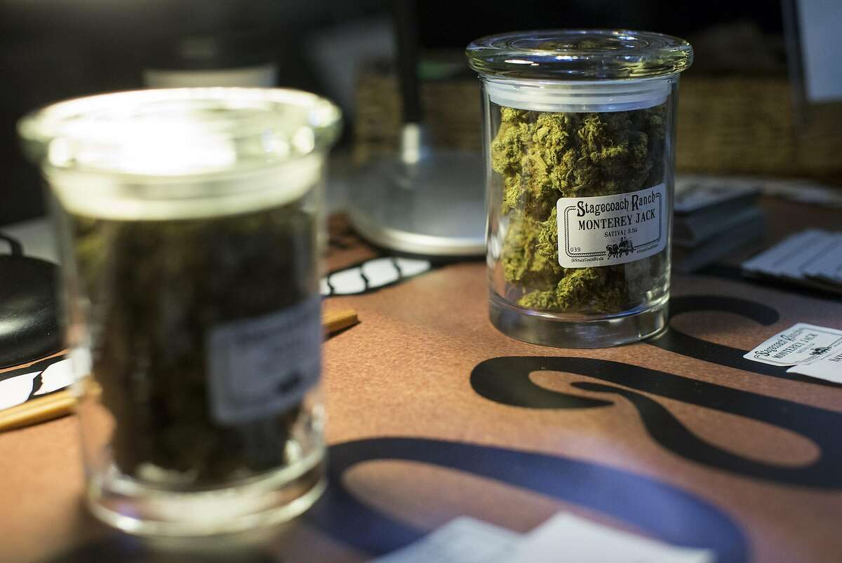 Cannabis from Stagecoach Ranch is seen on display during an event at Harvest, a medical marijuana dispensary in the Inner Richmond District, in San Francisco, Calif., on Saturday, November 19, 2016.