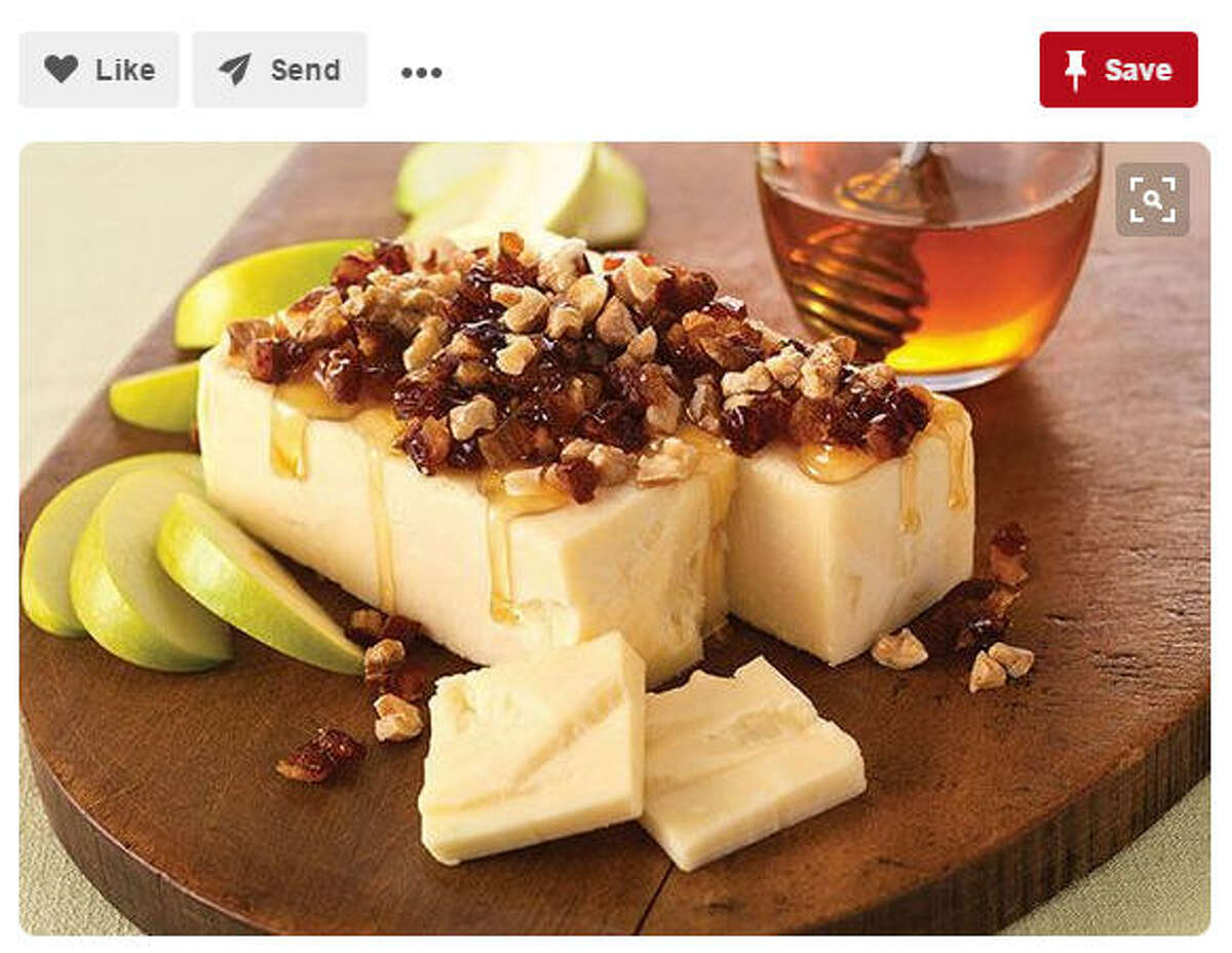 Dish:Cheddar with honey, nuts and cranberries Time to make:10 minutes Recipe:Caroline Kaufman, Ms, RDN Source:Pinterest