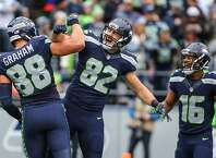 Tight ends Luke Willson and Jimmy Graham celebrate after Graham's touchdown in the second quarter against the Philadelphia Eagles.
