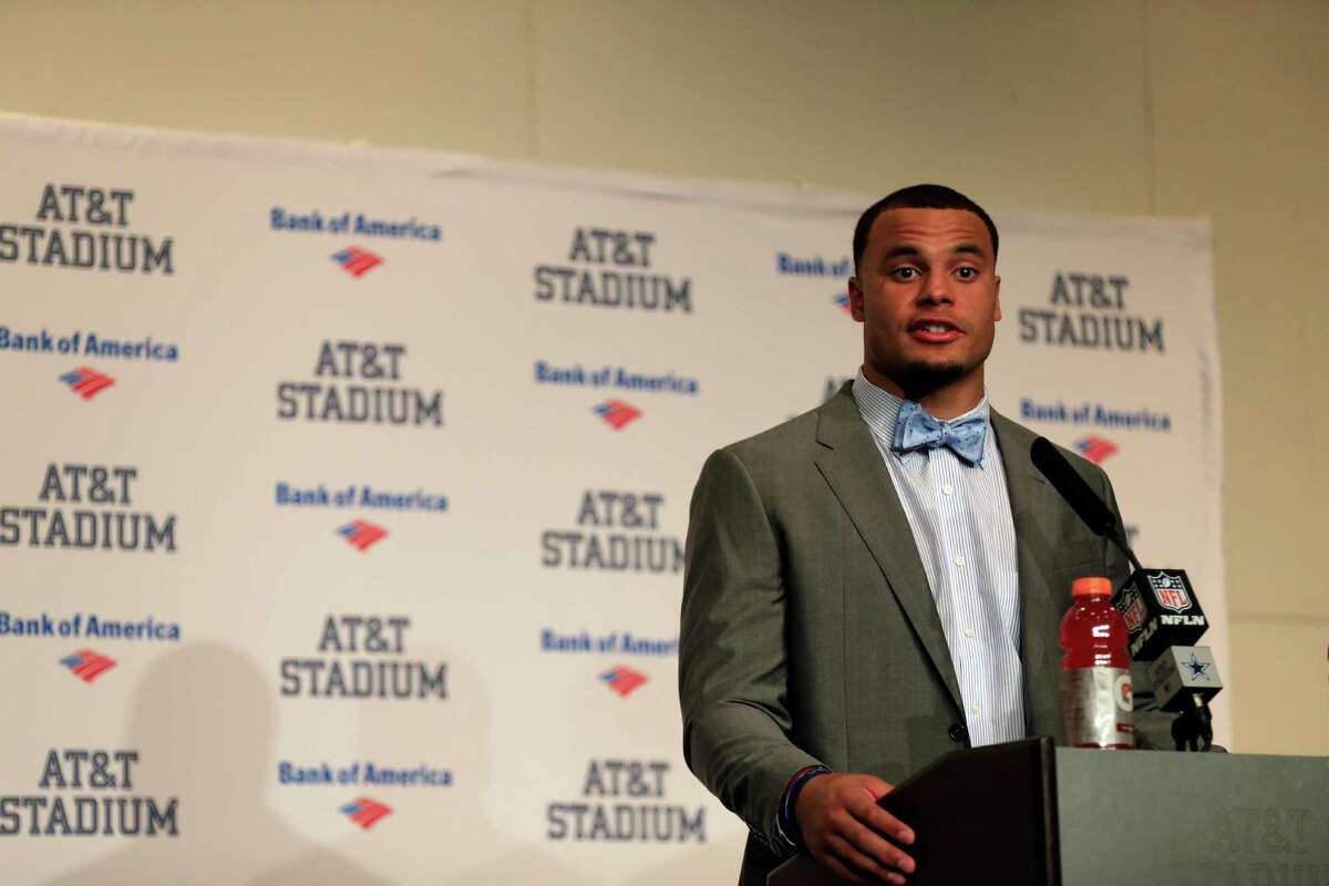 Dallas Cowboys quarterback Dak Prescott responds to questions during a news conference after their NFL football game against the Baltimore Ravens on Sunday, Nov. 20, 2016, in Arlington, Texas. (AP Photo/Ron Jenkins)