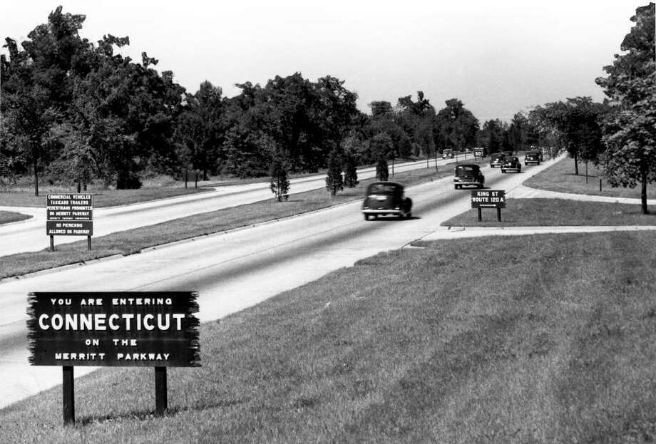 Early 1940's a sign welcomes motorists to Connecticut on the Merritt Parkway at the New York line in Greenwich . CT Departmen of Transportation photo. Photo: ST
