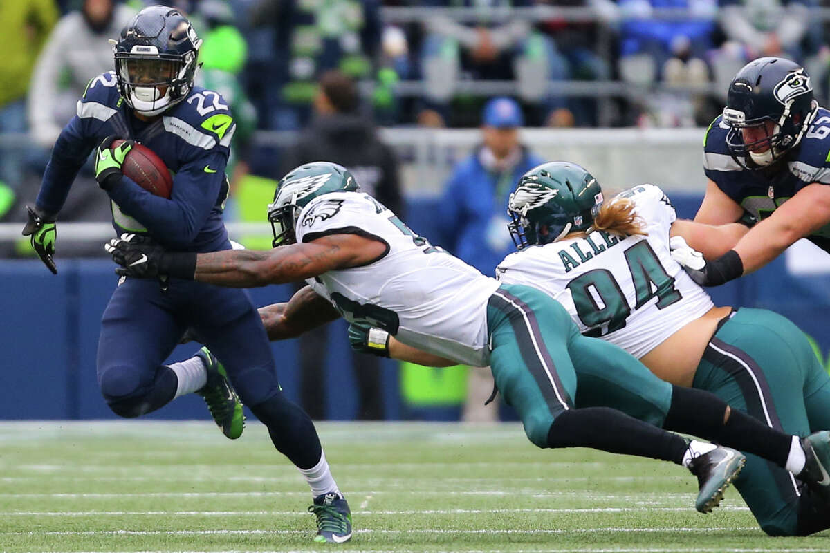 Seahawks running back C.J. Prosise runs the ball in the first half of a football game against the Philadelphia Eagles at CenturyLink Field on Sunday, Nov. 20, 2016.