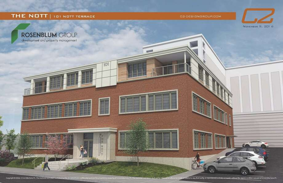 101 Nott Terrace, also known as the Schaffer building, which the city acquired through foreclosure, could soon be transformed into apartments of about 1,000 square feet, though that will only likely happen if the city gets the state grant it applied for last month.  (Rendering provided)