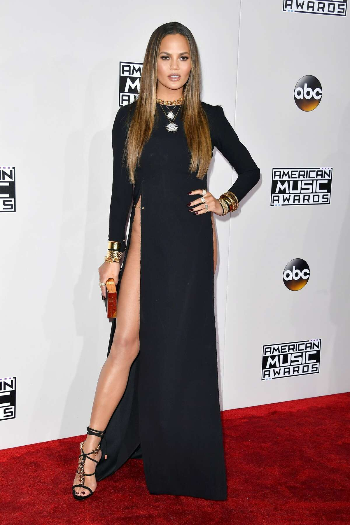 Model Chrissy Teigen attends the 2016 American Music Awards at Microsoft Theater.