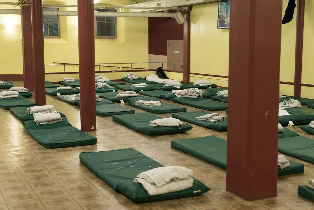 Beds for local homeless are seen at St. Boniface Church in San Francisco, Calif. on Sunday, Nov. 20, 2016. The church will be opening it's doors for extended hours during the winter.
