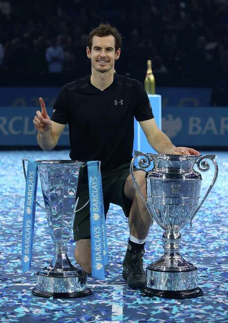 LONDON, ENGLAND - NOVEMBER 20:  Andy Murray of Great Britainposes with the trophies following his victory during the Singles Final against Novak Djokovic of Serbia at the O2 Arena on November 20, 2016 in London, England.  (Photo by Julian Finney/Getty Images) Photo: Julian Finney, Staff / 2016 Getty Images