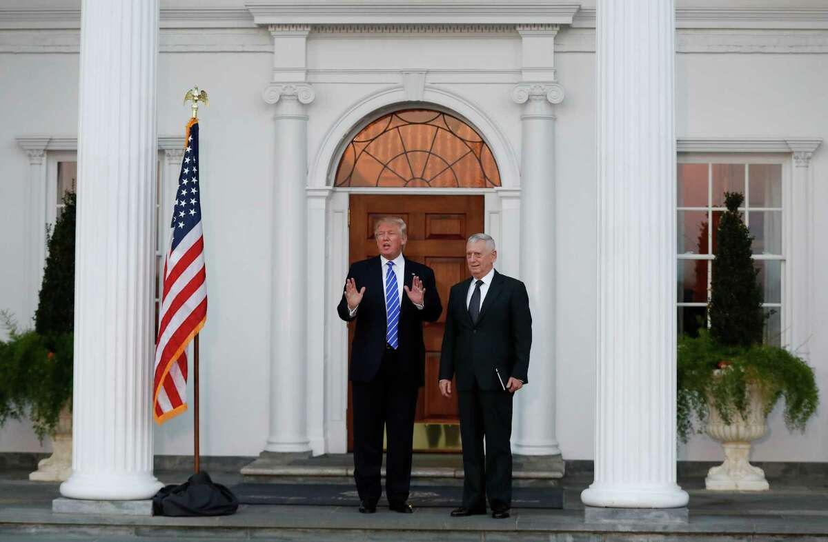 President-elect Donald Trump is using the entrance to his New Jersey golf club as a stage to parade finalists for his administration posts, such as retired Marine Corps Gen. James Mattis.
