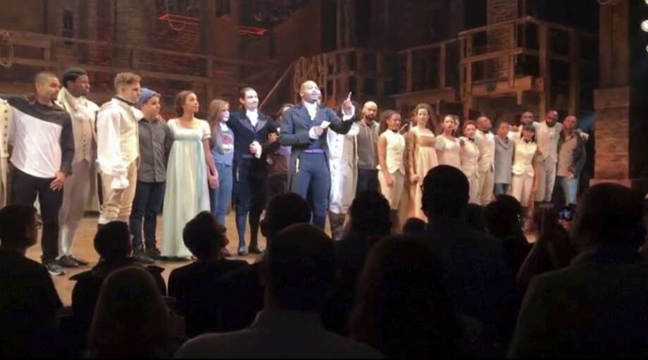 "In this image made from a video provided by Hamilton LLC, actor Brandon Victor Dixon who plays Aaron Burr, the nation's third vice president, in ""Hamilton"" speaks from the stage after the curtain call in New York. Photo: Associated Press"