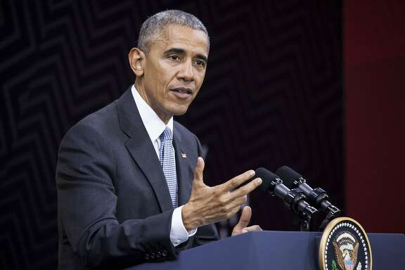 U.S. President Barack Obama speaks during a news conference at the Asia-Pacific Economic Cooperation (APEC) 2016 CEO Summit in Lima, Peru, on Sunday, Nov. 20, 2016. President Obama said he intends to give President-elect Donald Trump space to lead the U.S. and set his own agenda but is reserving the right to reinsert himself into the public debate if he thinks core American values are at stake. Photographer: Guillermo Gutierrez/Bloomberg