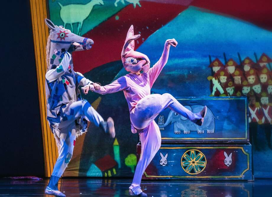 "Jeremy Smith as Skin Horse and Tegan Schwab as the rabbit in ODC Dance's ""Velveteen Rabbit,"" at Yerba Buena Center for the Arts Theater through Sunday, Dec. 11.  Photo by Andrew Weeks Photo: Andrew Weeks"