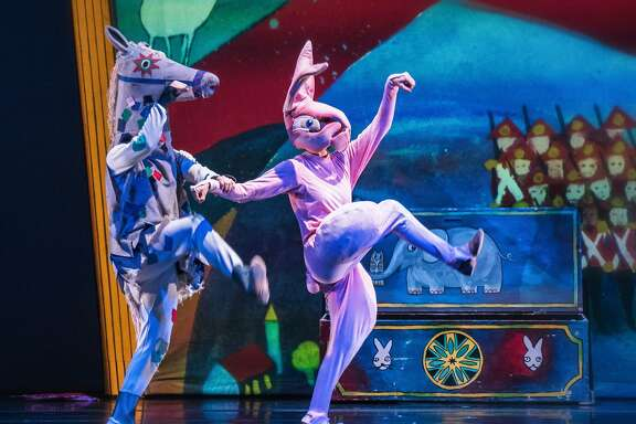 "Jeremy Smith as Skin Horse and Tegan Schwab as the rabbit in ODC Dance's ""Velveteen Rabbit,"" at Yerba Buena Center for the Arts Theater through Sunday, Dec. 11.  Photo by Andrew Weeks"