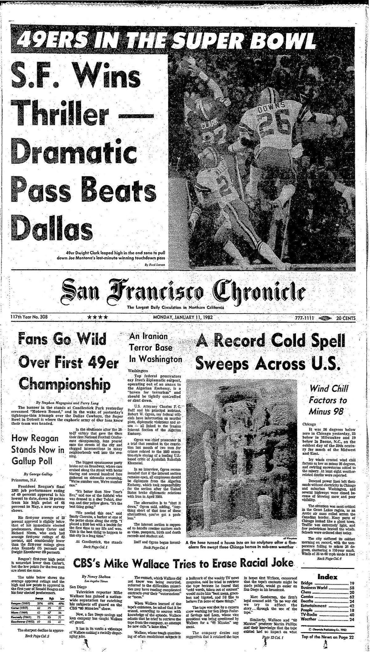 Historic Chronicle Front Pages January 11, 1981 The most famous play in San Francisco 49ers history, The Catch, propelled them into their first Super Bowl Chron365, Chroncover