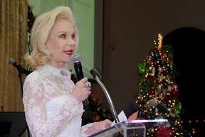 Honorary Chair Lynn Wyatt speaks at the 27th annual Trees of Hope Holiday Gala at The Citadel on Kirby Friday Oct. 04,2016.(Dave Rossman photo)