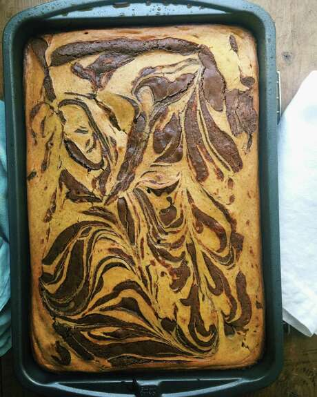 Pumpkin cream cheese is swirled into chocolate brownies for a marbling effect. Photo: Katie Workman, UGC / Copyright 2016. All rights reserved.