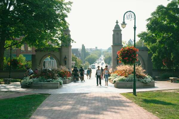 The Sample Gates is the main entrance of the campus of Indiana University Bloomington in the end of Kirkwood Avenue at the city of Bloomington, Indiana.