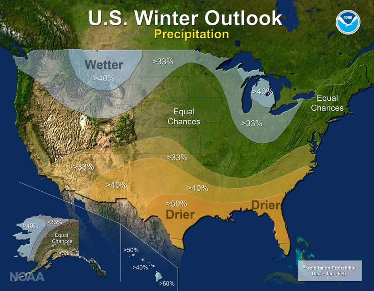 The U.S. winter outlook for precipitation in 2016. The south is expected to have drier-than-normal conditions, while northwest states are expected to have wetter-than-normal conditions.