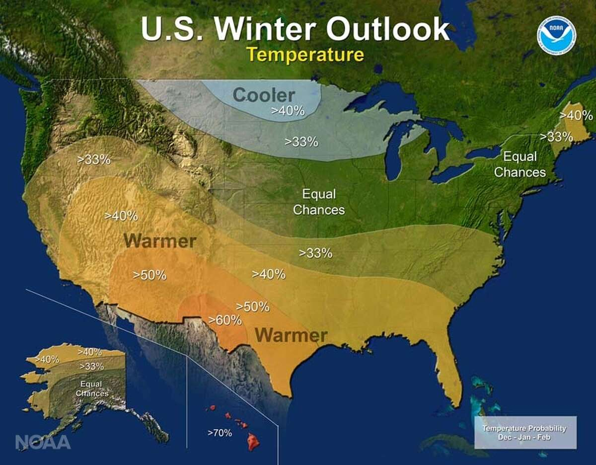 The U.S. winter outlook for temperature in 2016. The south is expected to have warmer-than-normal conditions, while northwest states are expected to have colder-than-normal conditions.