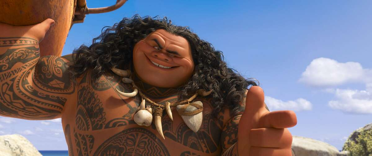 """This image released by Disney shows Maui, voiced by Dwayne Johnson in a scene from the animated film, """"Moana."""" (Disney via AP)"""