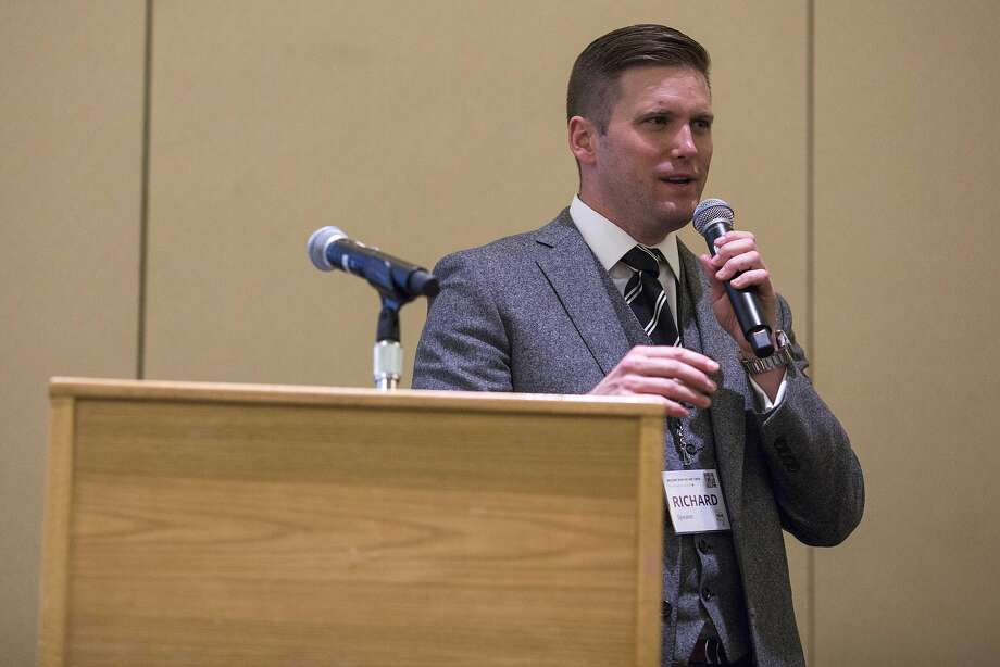 Richard Spencer, a leader of the far right, addresses a conference in Washington, Nov. 19, 2016. Hundreds of members of an extremist movement, feeling surprised but validated, gathered in Washington to herald a moment of political ascendance. (Al Drago/The New York Times) Photo: AL DRAGO, NYT