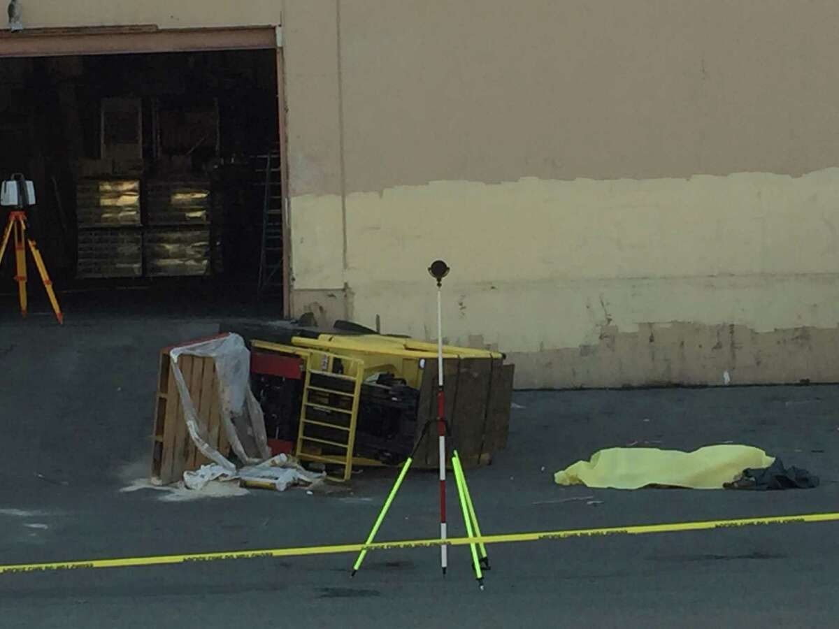 A man who was crushed by a forklift died in San Francisco's Dogpatch neighborhood Monday afternoon.