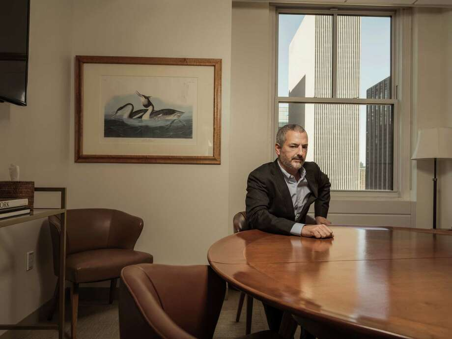 """David Kaiser, a fifth-generation Rockefeller, says he sees the """"obvious historical irony of the fact that we are Rockefellers doing this would attract additional attention to the story - and we want attention to the story.""""  Photo: SASHA MASLOV, STR / NYTNS"""
