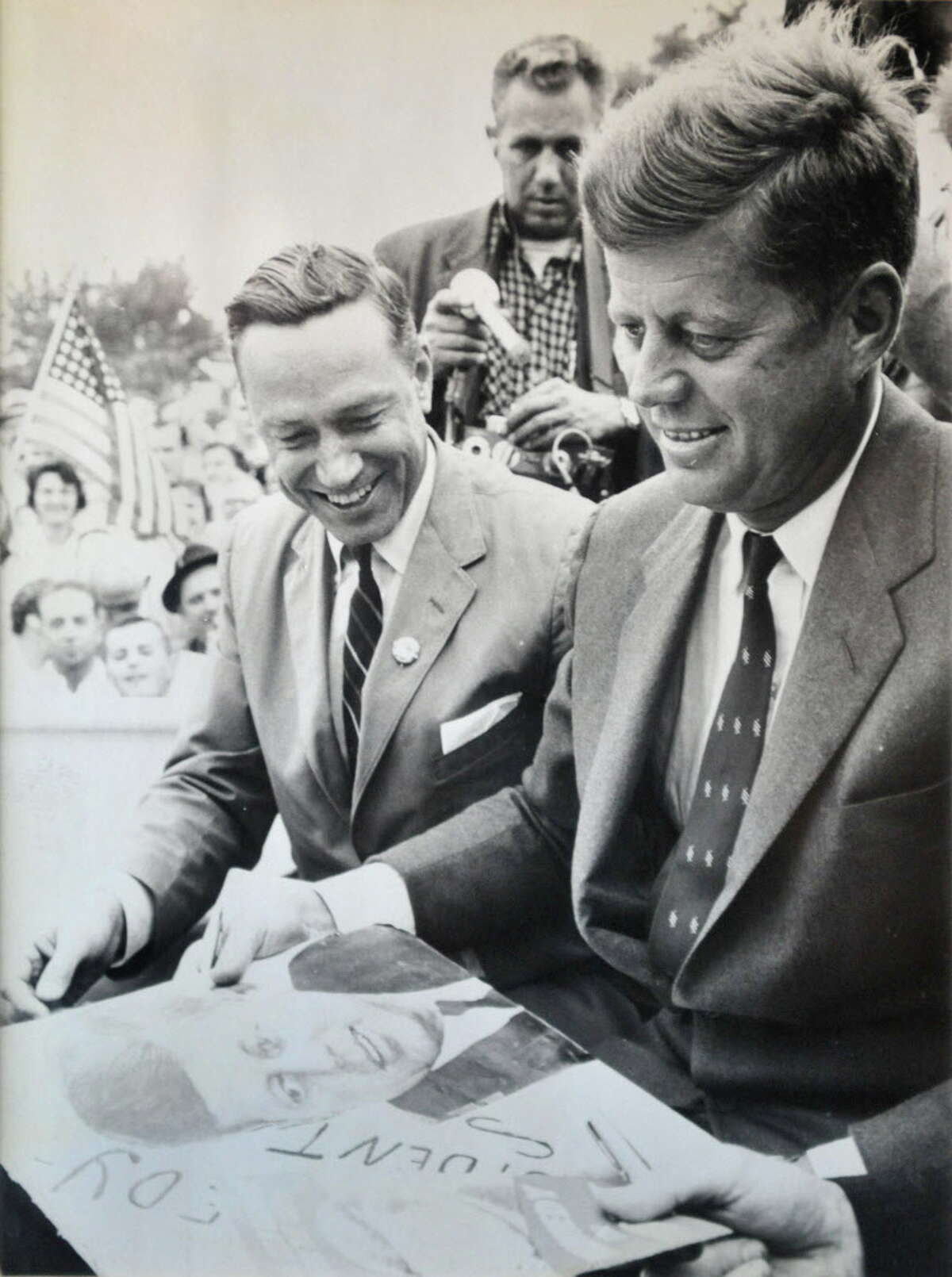 Photograph courtesy of Mayor Brian Stratton: Undated B&W photo of then US Congressman Sam Stratton ,left, with John F. Kennedy during a campaign stop in Schenectady. (for Times Union story)