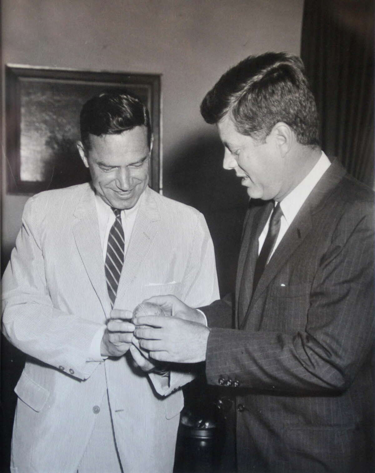 Photograph courtesy of Mayor Brian Stratton: Undated B&W photo of then US Congressman Sam Stratton, left, with President John F. Kennedy. (for Times Union story)