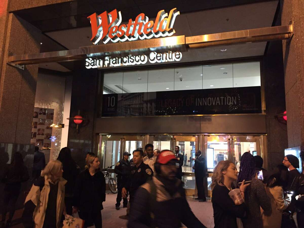 FILE - Shoppers stand outside of SF's Westfield Mall in this file photo from November 2016. The mall's Warrior Team Store will host the Larry O'Brien NBA Championship Trophy on Sunday, June 2.