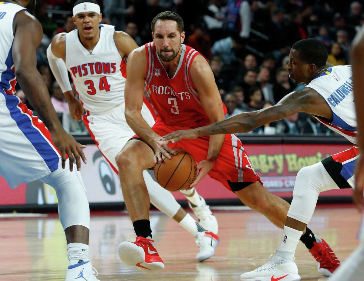 Houston Rockets forward Ryan Anderson (3) drives against the Detroit Pistons in the first half of an NBA basketball game in Auburn Hills, Mich., Monday, Nov. 21, 2016. (AP Photo/Paul Sancya)