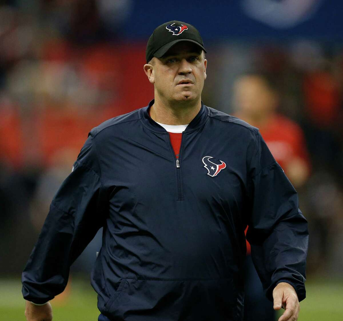 Houston Texans head coach Bill O'Brien before the start of an NFL football game at Estadio Azteca on Monday, Nov. 21, 2016, in Mexico City.