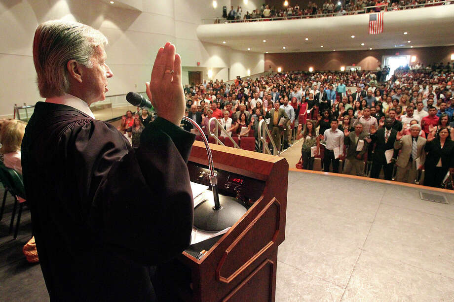 Judge John Primomo, who has long presided over naturalization ceremonies, reportedly told new citizens last week that if they don't like Donald Trump as president, they should leave the U.S. Photo: TOM REEL, Staff / San Antonio Express-News