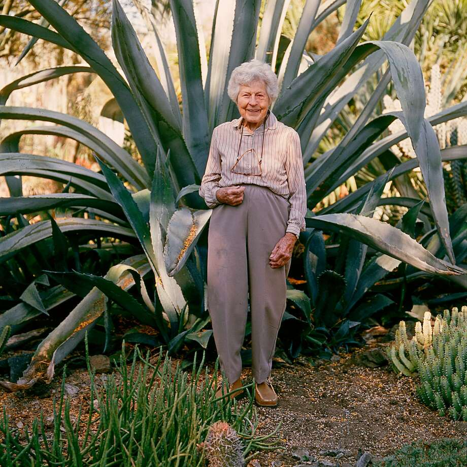 "Ruth Bancroft in 2004 with an agave in her Ruth Bancroft Garden, which will honor her life and work on Feb. 17.  Photo is taken from ""The Bold Dry Garden"" © Copyright 2016 by Johanna Silver and the Ruth Bancroft Garden. All rights reserved. Published by Timber Press, Portland, Ore. Used by permission of the publisher. Photo: MARION BRENNER"