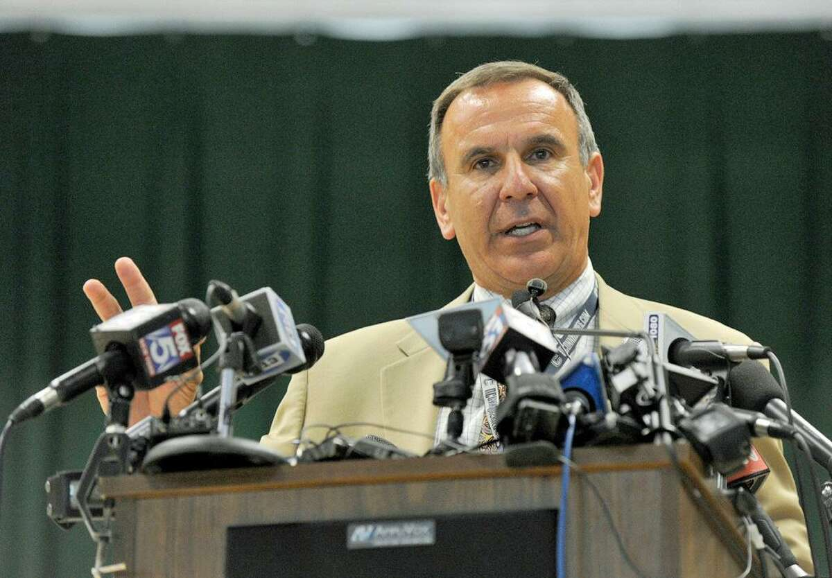 Joseph Erardi, Newtown schools superintendent, at a press conference in July about the opening of the new Sandy Hook School. The $50 million school replaced the building that was torn down where 20 first-graders and six educators were massacred in 2012.