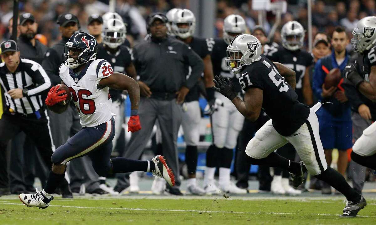 Running back Lamar Miller carried 24 times for 104 yards and a touchdown. He helped the Texans run for 124 yards. No other back contributed much. Grade: B