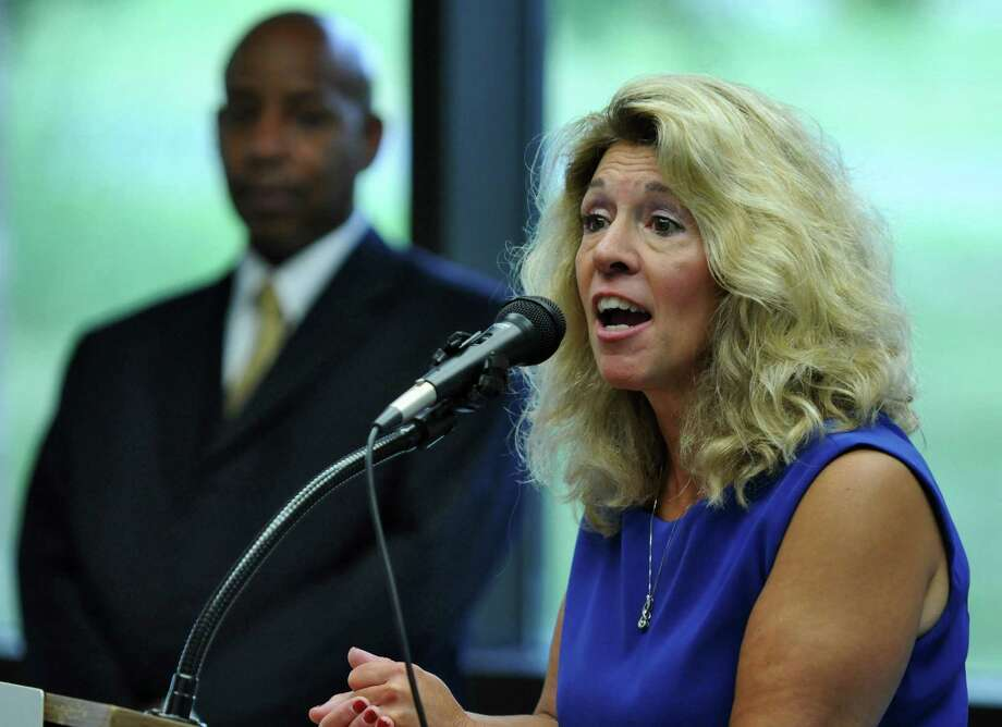 Public Employees Federation President Susan Kent, right, speaks after being sworn in on Wednesday Aug. 1, 2012 in Latham, NY.  Secretary Treasurer Carlos Garcia is at left.   (Philip Kamrass / Times Union archive) Photo: Philip Kamrass / 00018680A